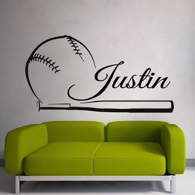 Baseball Sticker Name Sports Decal Posters Vinyl Wall Decals Pegatina Quadro Parede Decor Mural Baseball Sticker