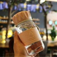 Hippo Casa 400 ml Bottiglia di Acqua di Vetro Trasparente Moda Paio di Studenti Silicone Portatile Corda Outdoor Sports Drink Bottiglia
