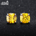 Effie Queen New Popular Women Earrings Stud Jewelry Luxury Big Square 4 Prong Setting Yellow Zircon Stud Earrings DAE015