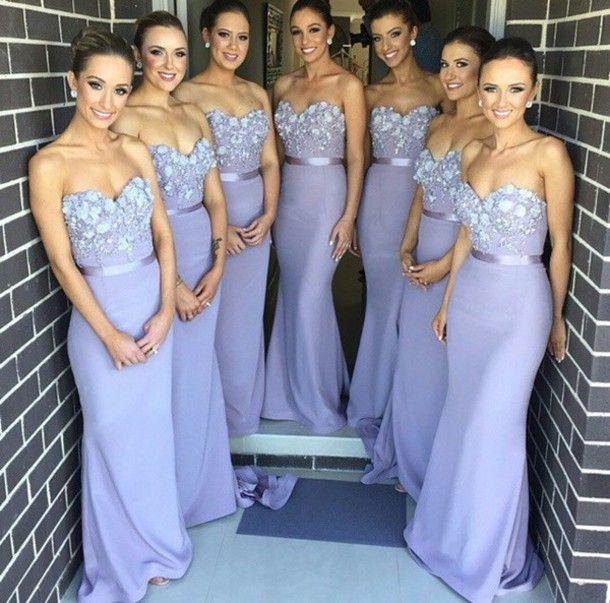 Elegant 2019 Cheap   Bridesmaid     Dresses   Under 50 Mermaid Sweetheart Lace Flowers Long Wedding Party   Dresses   For Women