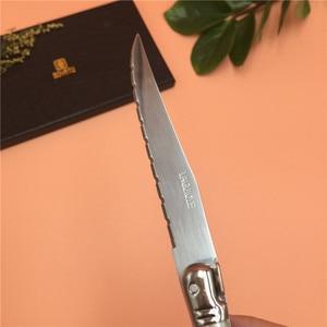 Image 5 - Fransa 6 adet Yüksek kaliteli laguiole paslanmaz çelik biftek bıçağı seti sofra yemek takımı Kremalı Beyaz çelik çatal bıçak kaşık seti