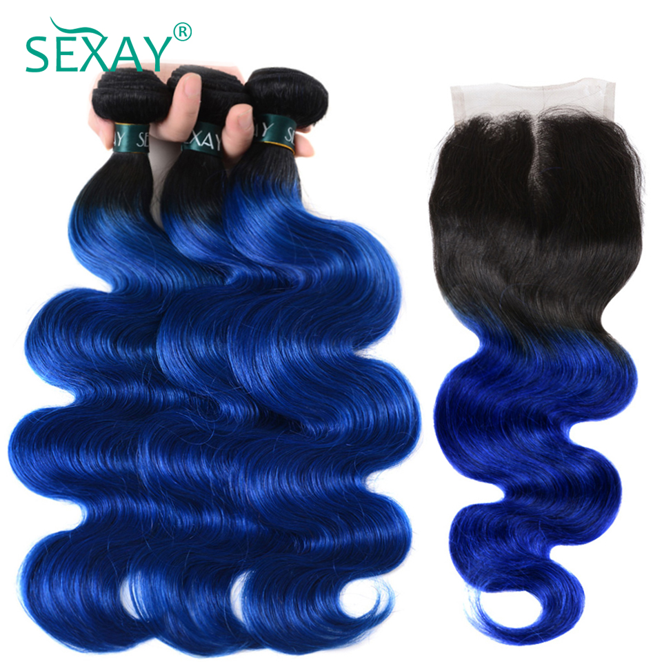 SEXAY Blue Hair 3 Bundles With Closure One Pack Dark Roots Two Tone Ombre Brazilian Body Wave Human Hair Weft With Lace Closure