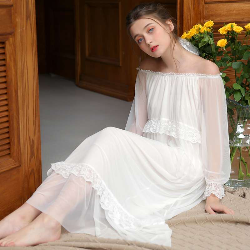 Spring Home Dress Nightgown Women Plus Size Long White Pink Cotton Sleepwear Lace Mesh Casual Night Dress Sleep Shirt Lady 2019
