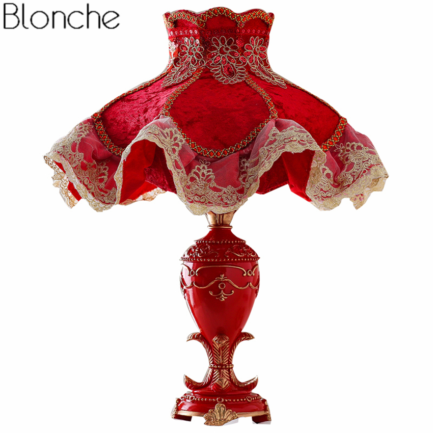 Nordic Red Resin Table Lamp Fabric Lampshade Led Desk Light for Princess Room Bedside Wedding Lighting Fixtures Luminaria Decor european led table lamp bedroom bedside lamp stand desk light retro princess wedding room decoration dimming lighting fixtures