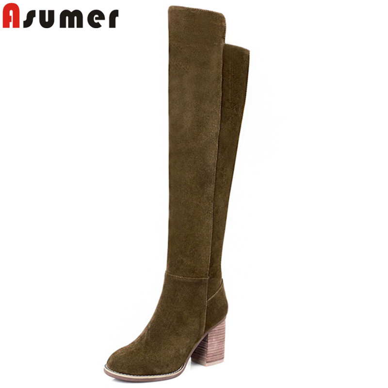 ASUMER 2018 fashion autumn winter boots women round toe zip knee high boots thick high heels boots ladies prom shoes size 33-41 asumer 2018 fashion autumn winter boots zip round toe suede leather knee high boots women thick high heels boots ladies shoes
