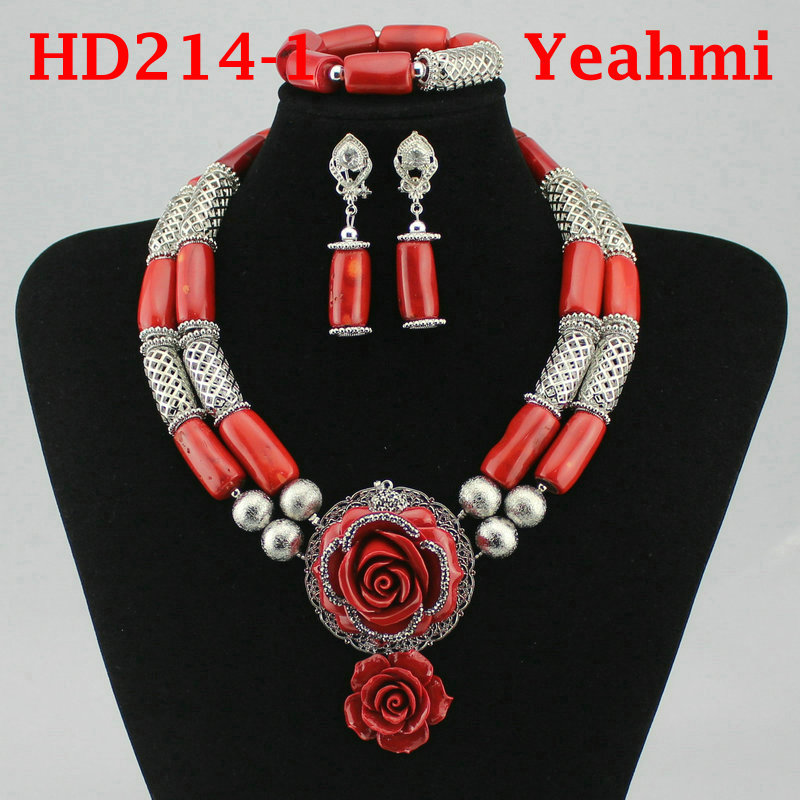 Genuine Coral Necklace Jewelry Set for Brides Nigerian Wedding African Coral Beads Jewelry Set Gold Dubai Party Beads  HD214-2Genuine Coral Necklace Jewelry Set for Brides Nigerian Wedding African Coral Beads Jewelry Set Gold Dubai Party Beads  HD214-2