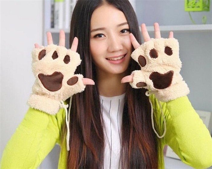 Animal Women Men Cartoon Cute Flannel Warm Claw Grey Pink Black Flannel Gloves Halloween  A434