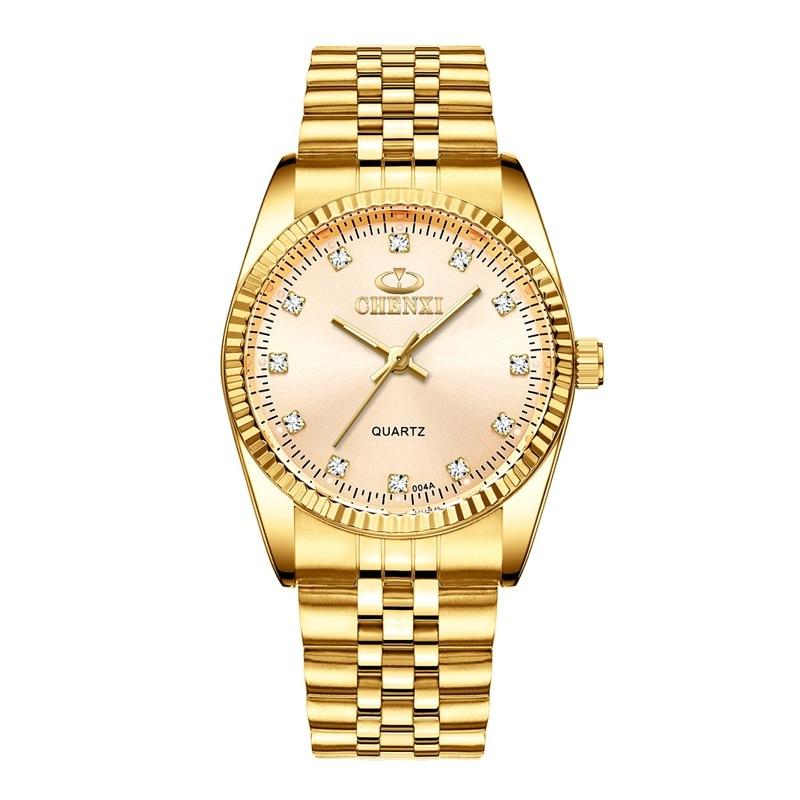CHENXI Роскошные парные часы золотые модные часы для влюбленных из нержавеющей стали Кварцевые наручные часы для женщин и мужчин аналоговые наручные часы - Цвет: Men Golden Dial