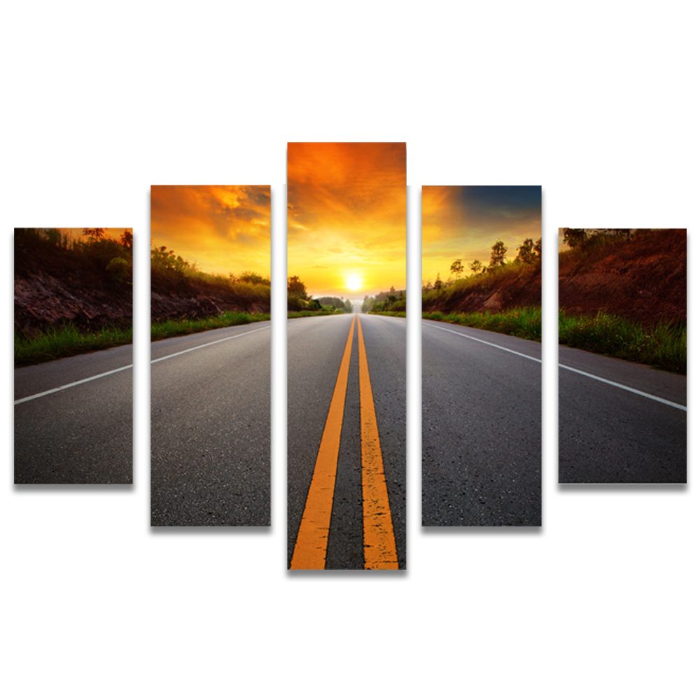 Unframed Canvas Painting Sunlight Highway Photo Picture Prints Wall Picture For Living Room Wall Art Decoration