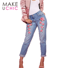 MAKEUCHIC Apparel Fashion Women Slim Jeans Casual Roses Embroidery Pencil Pants Female Zipper Streetwear Trousers For Ladies