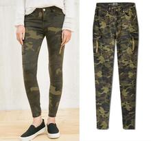 European and American women Mid-Rise pockets camouglage stretch jeans Fashion slim fit denim pencil pants