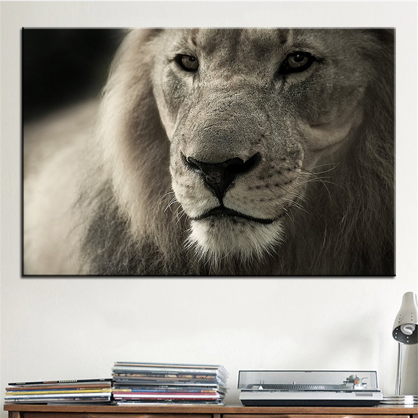 Large size Printing Oil Painting lion africa safari Wall painting POP Art Wall Art Picture For Living Room painting No Frame