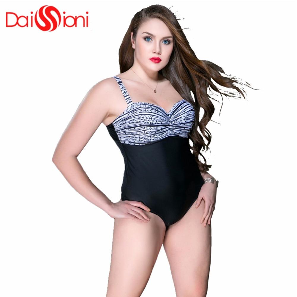 efeb568edd 2018 New Plus Size Swimwear Women One Piece Swimsuit Large Size Vintage  Retro High Waist Bathing
