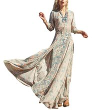 Women Causal Dress 3/4 Sleeve Beach Bohemian V Neck Floral Split Long Maxi Sundress Dresses vestidos
