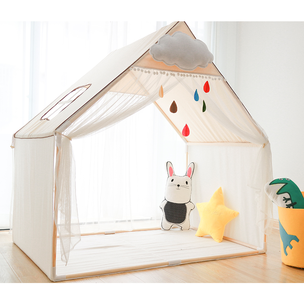 new style 19126 a090d Children Play House Tent 100% Natural Cotton Canvas Large Castle Portable  Indoor and Outdoor Fun Plays Best Gift For Kids