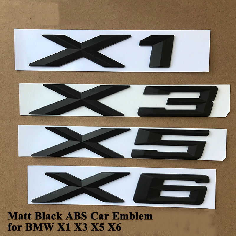 1pc ABS Matt Black Car Emblem Logo Badge Tail Trunk Sticker Accessories for BMW X1 E84 F48 X3 F25 G01 X5 E70 F15 X6 F16 E71 G06