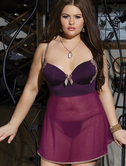 Sexy Dress For Lady Night Suit Plus Size Lingerie Lace Babydoll Silk