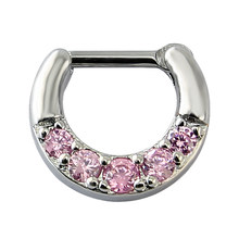 Real Nose Hoop Ring With Five Pink Zirconia 316L Surgical Steel Horseshoe Nostril Septum Clicke Ring Women Body Piercing Jewelry(China)