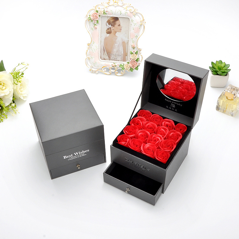 Soap Rose flower Double Drawer Wood Necklace Gift Box Girl Valentine Jewelry Gift Box Bag Mother