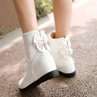 Spring And Autumn Boots Single Boots White Women's Boots Autumn Women's Shoes Girls Big Boy Flat Student Shoes