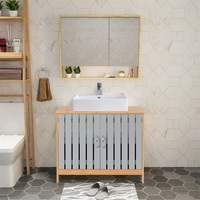Bathroom Under Sink Vanity Cabinet Bamboo Freestanding Shelf Cabinet with Two Curved Handles Modern and Concise Design HW60393