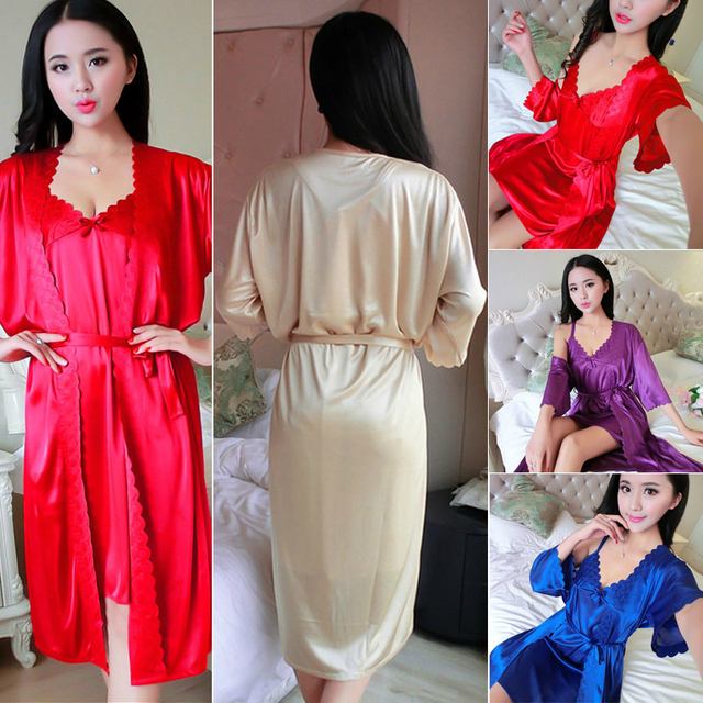 8e3ccf78aa Stylish Sexy Women Sleep Dress plain Satin Robes Bridal Wedding Bridesmaid  Bride Gown Robe   Gown Set
