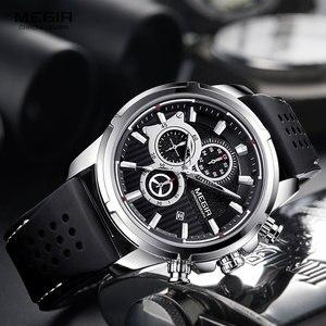 Image 2 - MEGIR צבא ספורט קוורץ שעונים גברים הכרונוגרף סיליקון רצועת שעוני יד יוקרה למעלה מותג Relogios Mascuoino שעון 2101 כסף