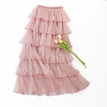 Pleated Satin Skirt 6 Layers High Waist Women Clothing Mesh Party Skirt 2019 New Spring Casual Ankle-Length A-Line Cake Skirt skirt nife skirt page 6