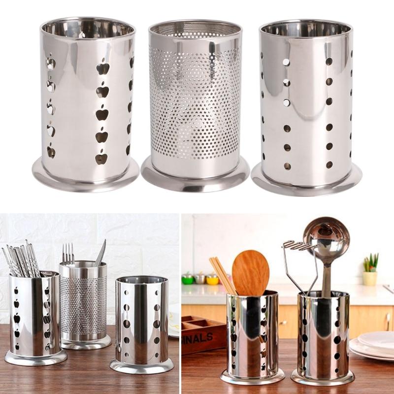 Stainless Steel Hanging Cutlery Holder Drainer Spoon Fork Chopsticks Storage Basket Rack Kitchen Accessories Tools Organizer