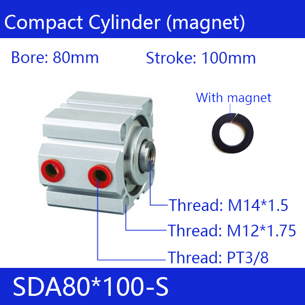 SDA80*100-S Free shipping 80mm Bore 100mm Stroke Compact Air Cylinders SDA80X100-S Dual Action Air Pneumatic Cylinder SDA80-100 sda80 50 free shipping 80mm bore 50mm stroke compact air cylinders sda80x50 dual action air pneumatic cylinder