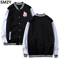 SMZY BTS Kpop Baseball Jacket Sweatshirt Women Winter Cotton Korea Bangtan Hip Hop Pullover Hoodies Women