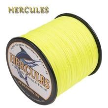 Hercules Braided Fishing Line Multifilament 100M 300M 500M 1000M 1500M 2000M Fluorescent Yellow PE Carp Fishing Cord 8 Strands