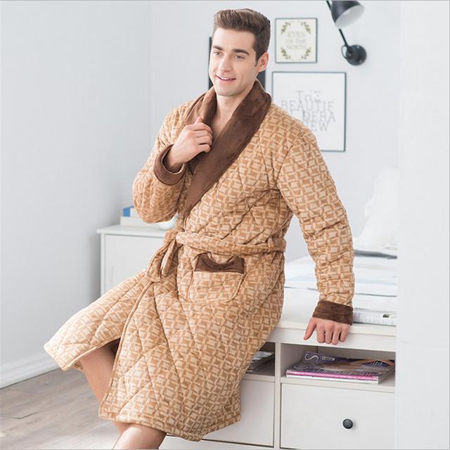 Novos homens de inverno robe pijamas Manter quente algodão Turn-down Collar Cardigan Roupões camisola serviço de Casa