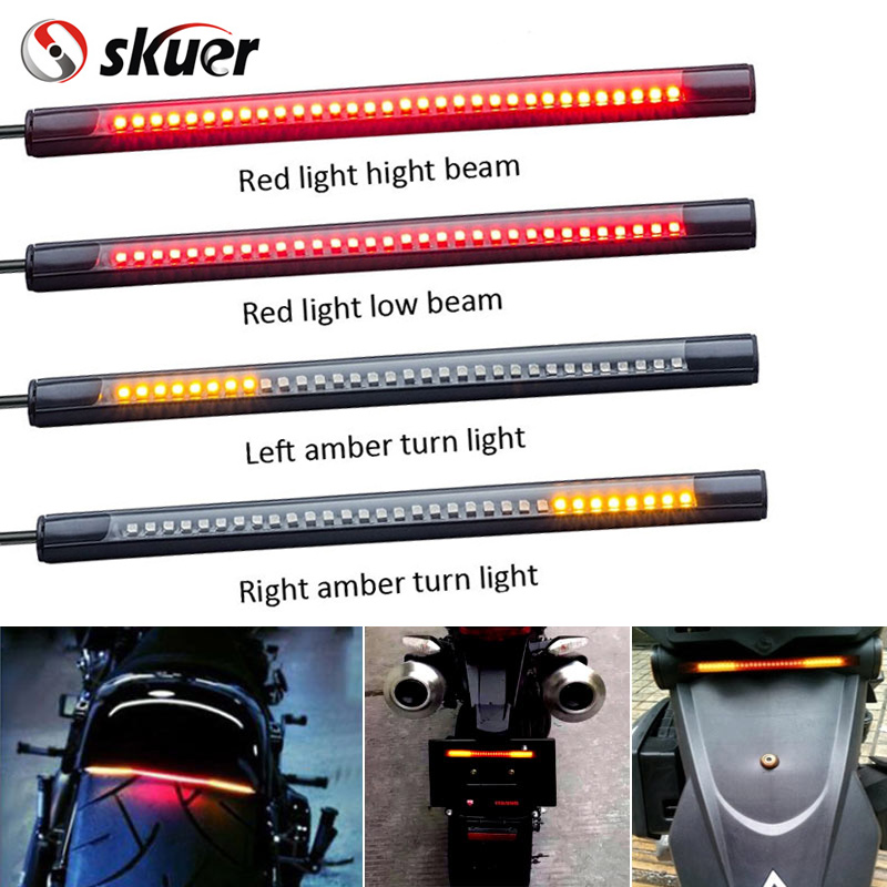 Universal Flexible LED Motorcycle Brake Lights Turn Signal Light Strip 32 Leds License Plate Lamp Car Red and Amber Led  1 piece red rectangle red len led reflectors brake light universal motorcycle brake light car brake lights moto stop light