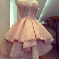 Sweetheart lovely short beading crystal satin cheap charming homecoming dress for girls.jpg 200x200