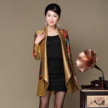 2017 New Fashion Spring Autumn Middle Aged Women Elegant printing Coat Shawl Pleated Mother Clothing Plus Size XL-3XL A244
