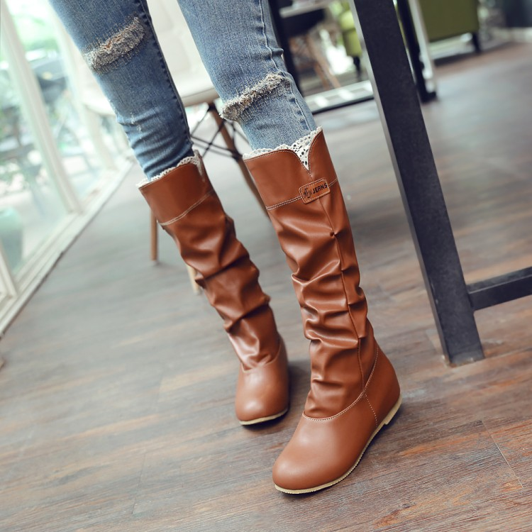 Big size 34-46 women flat knee boots ladies riding fashion long snow boot warm winter brand botas footwear shoes 669 ves vmd 2
