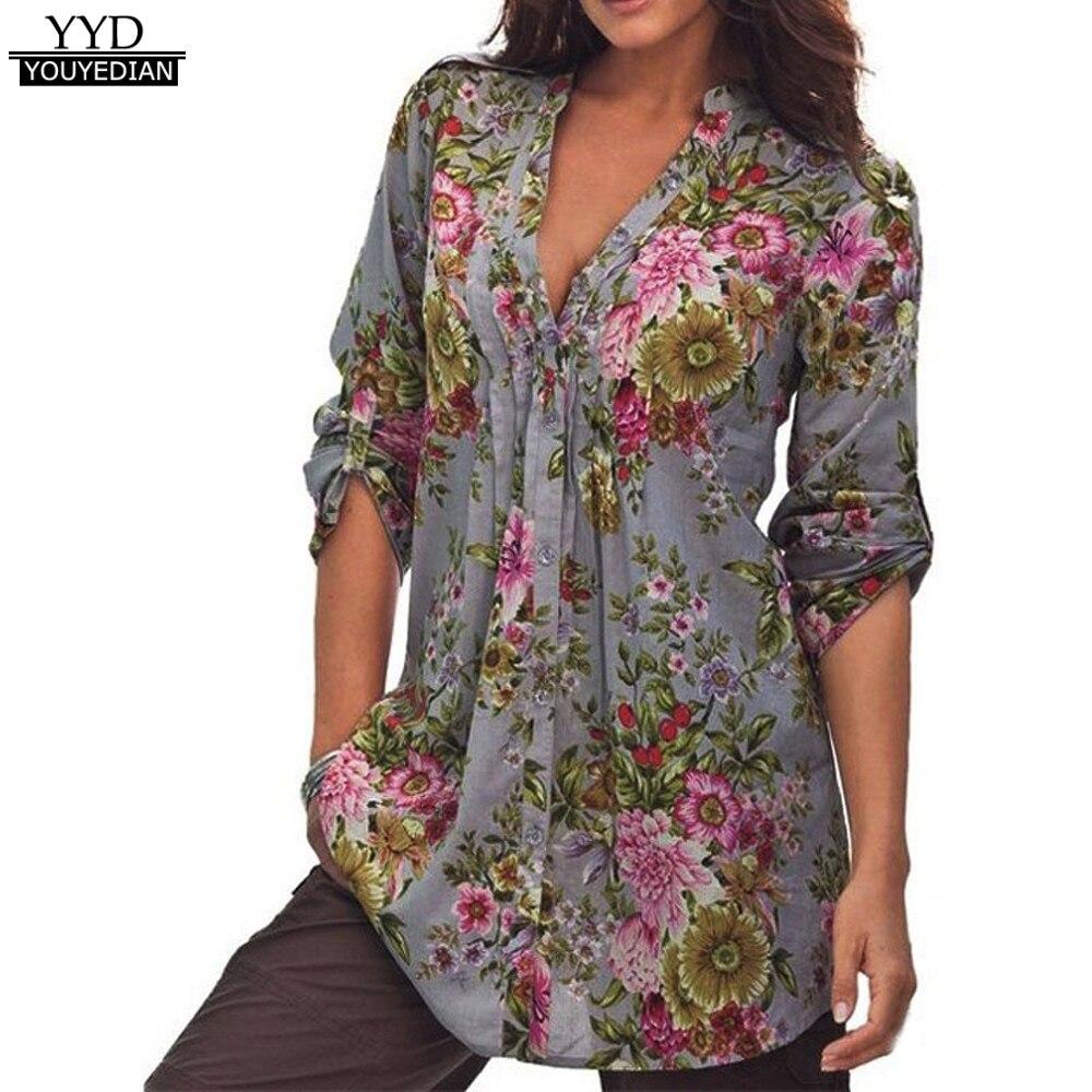 Plus Size S-6XL Donna Vintage Stampa Floreale Con Scollo A V Tunica Top Autunno 2017 Donne Camicette di Modo delle Donne Vestiti Ropa Mujer * 1014