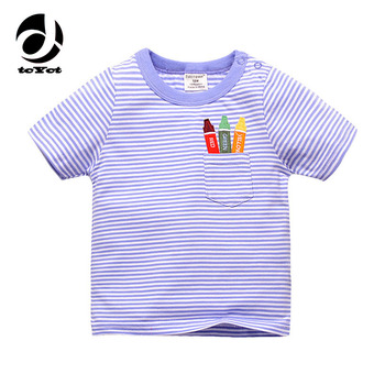 1-6T 100% Cotton Kids Baby T-shirt Tops Boys Girls Tee Striped T Shirt Children Tshirt Toddlers Baby Clothing 2017 Child Clothes
