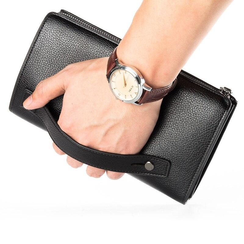 Luxus Brieftaschen Mit Münzfach Lange Zipper Geldbörse für Männer Kupplung Business Männlichen Brieftasche Doppel-reißverschluss Vintage Große Brieftasche