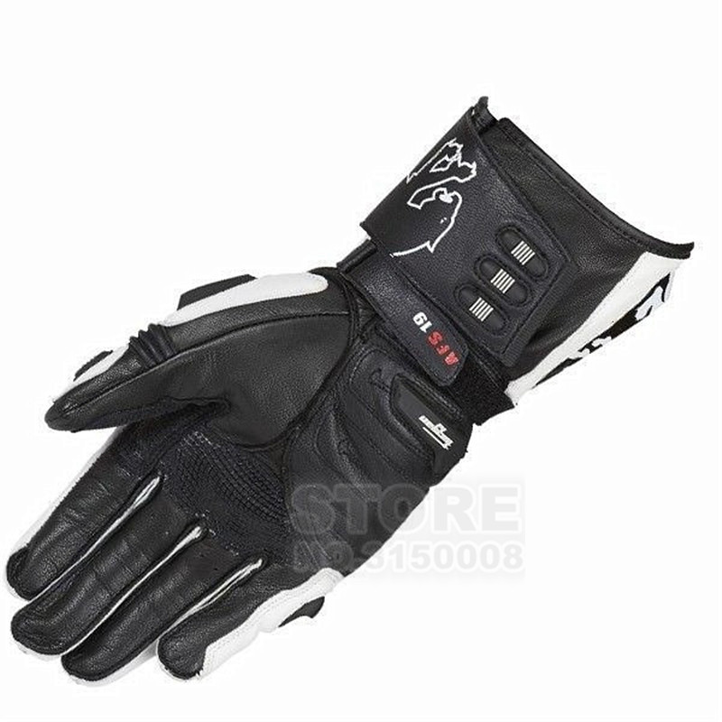 New AFS19 Leather Sports Vented Road Race Motorcycle Glove Mens CE Approved Goat Leather Motorbike Gloves moto Guantes Luvas