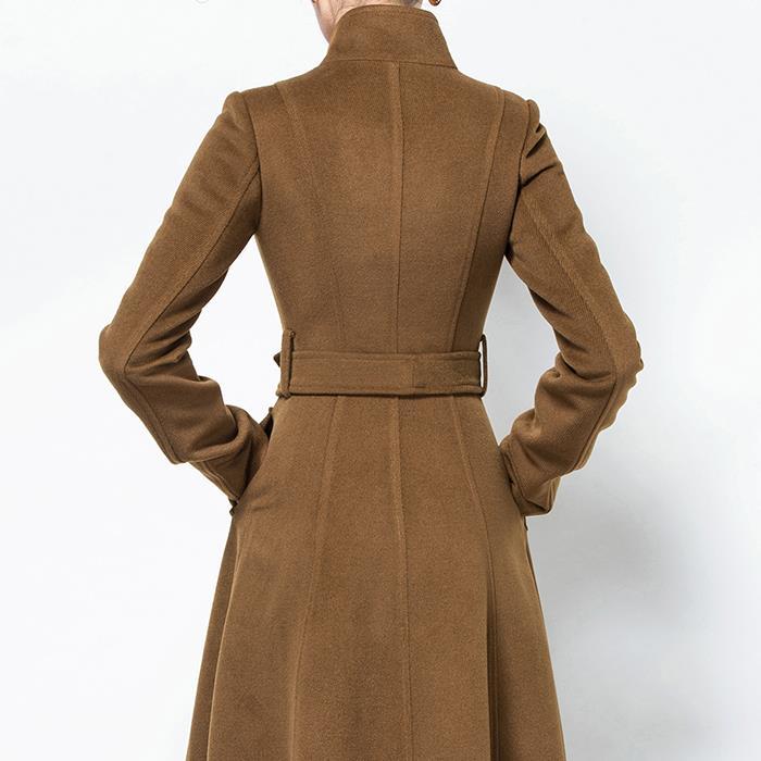 2019 Moda Qatı Rəngli Yun Palto Uzun yun Pencək Qadın Vintage - Qadın geyimi - Fotoqrafiya 5