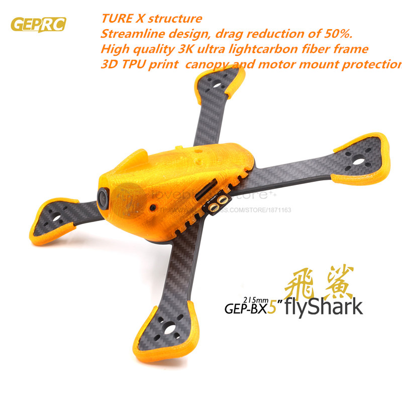 GEPRC DIY FPV mini drone GEP-BX5 Flyshark quadcopter 3K pure carbon fiber frame for the racing 4/5/6 4mm main arm plate diy fpv mini drone qav210 quadcopter frame kit pure carbon frame cobra 2204 2300kv motor cobra 12a esc cc3d naze32 10dof