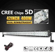 Oslamp 42 pouce CREE Puces LED Lumière Bar 5D 400 W Led Bar Offroad Led Travail Lumière Combo Faisceau pour 12 v 24 v Camion ATV 4X4 4WD Conduite