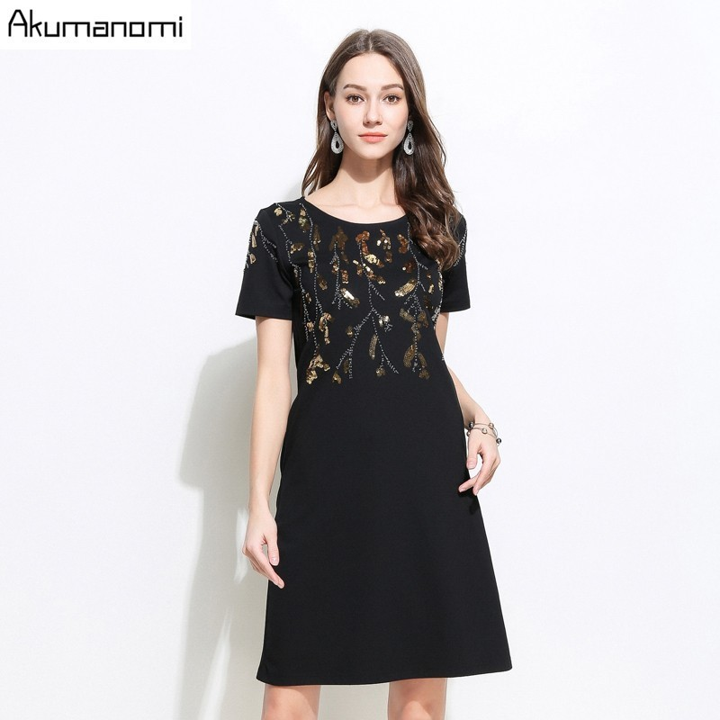Summer Dress Women 2019 New Plus Size Blace O neck Short Sleeve Sequined beading Dress Free