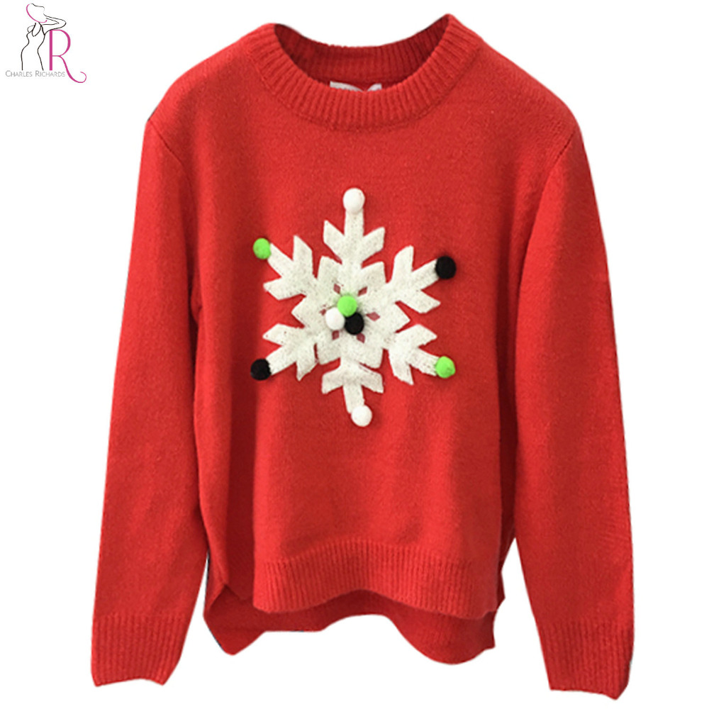 Red Snowflake Pom Pom Patchworked Christmas Sweater Women Long Sleeve O Neck Knitted Jumper Winter Casual Pullover Top