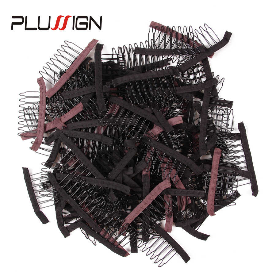 10Pcs Wig Clips Black Dark Brown 6Teeth And 8Teeth Hair Wig Clips For Fix Full Lace Wigs Toupee Plussign Wig Comb