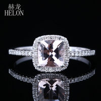 Claw Prongs 6mm Cushion Shape 0 9ct Pink Morganite Halo Pave 0 2ct Natural Ring Solid