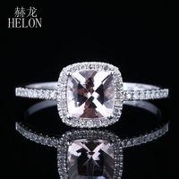 Helon爪プロング6ミリメートルクッション0.9ctピンクモルガナイトハローパヴェ0.2ct
