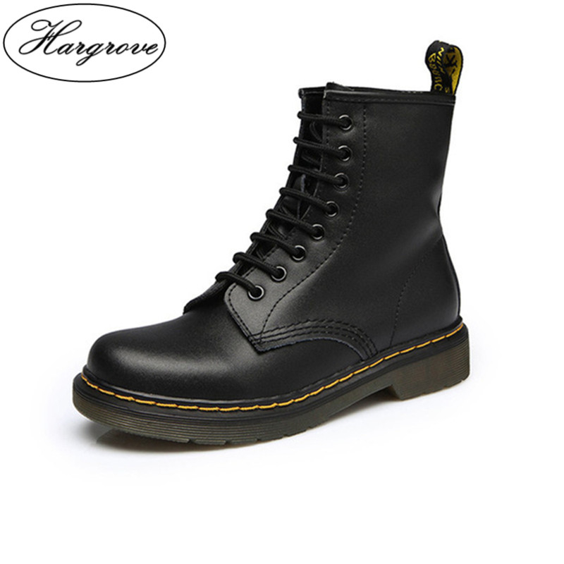 Women Boots Doc Martins 2018 British Dr Martins Vintage Classic Genuine Martin Boots Female Thick Heel Motorcycle Women's Shoes
